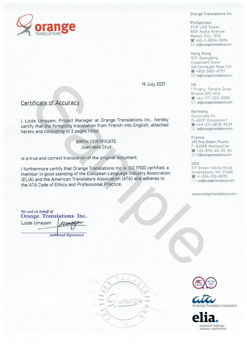 Certified translation, sample